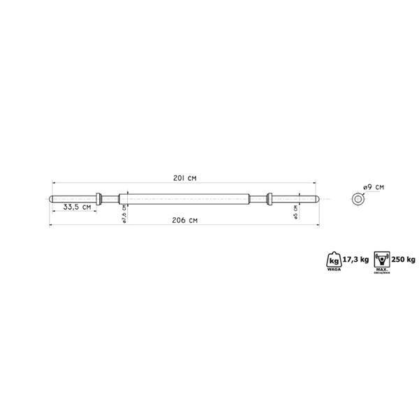Rovná činková tyč Marbo - délka 206 cm