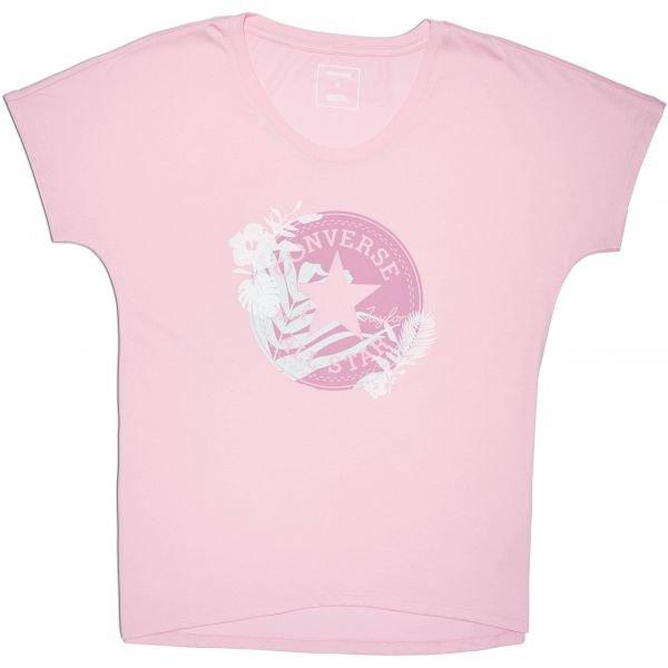 Růžové dámské tričko s krátkým rukávem Converse - velikost XS