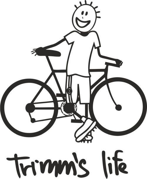 Červeno-oranžové pánské tričko s krátkým rukávem Cyklista, Trimmslife - velikost S