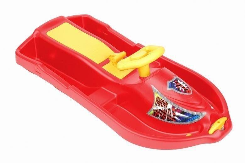 Červené dětské boby s volantem Plastkon