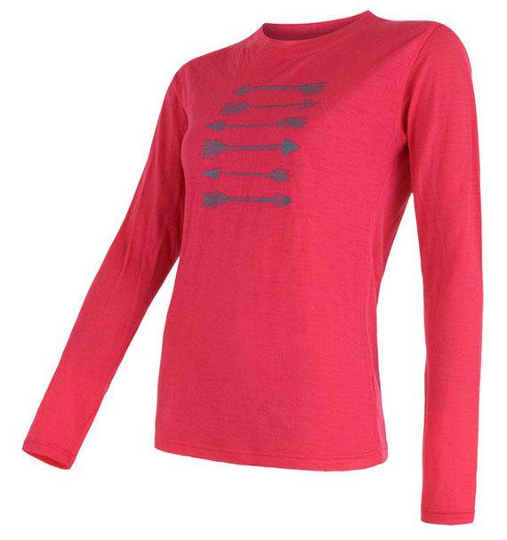 Růžové dámské funkční tričko s dlouhým rukávem Sensor - velikost XL