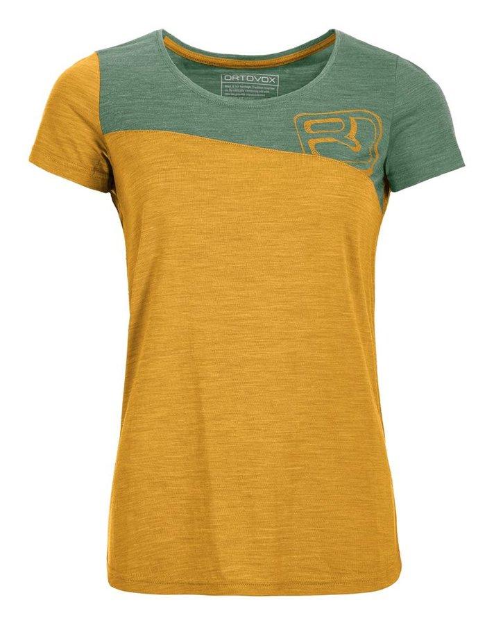 Zeleno-žluté dámské termo tričko s krátkým rukávem Ortovox