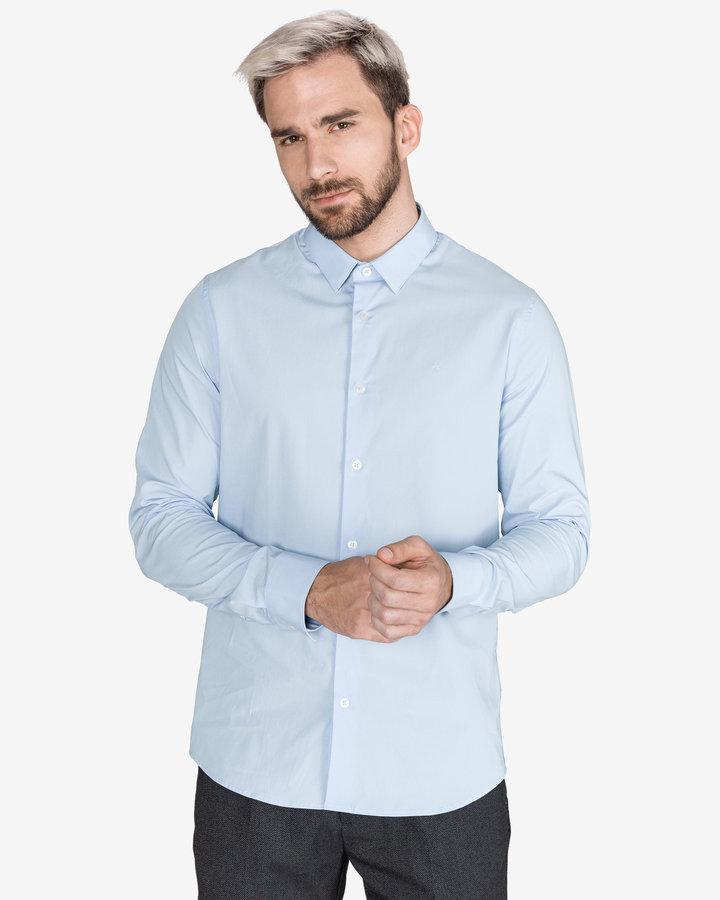 Modrá pánská košile s dlouhým rukávem Calvin Klein - velikost M