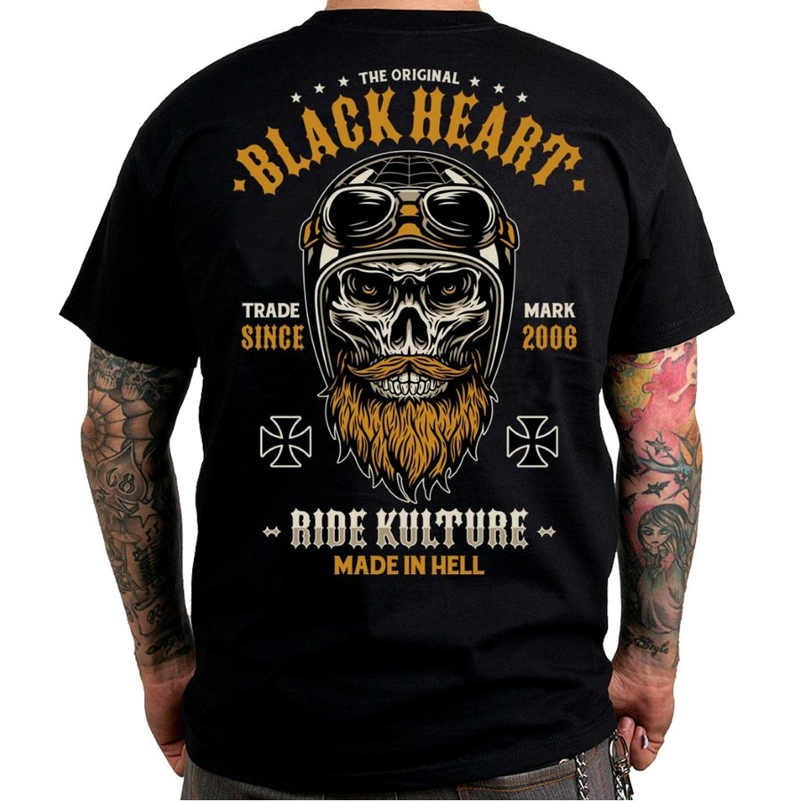 Černé motorkářské tričko Whiskery, Blackheart