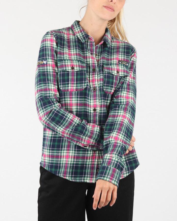 Růžovo-zelená dámská košile s dlouhým rukávem SuperDry