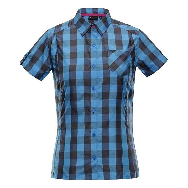Černo-modrá dámská košile s krátkým rukávem Alpine Pro - velikost M
