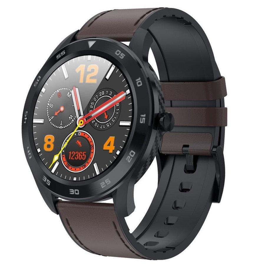 Černo-hnědé sportovní analogové chytré hodinky SmartWatch DR98, Neogo