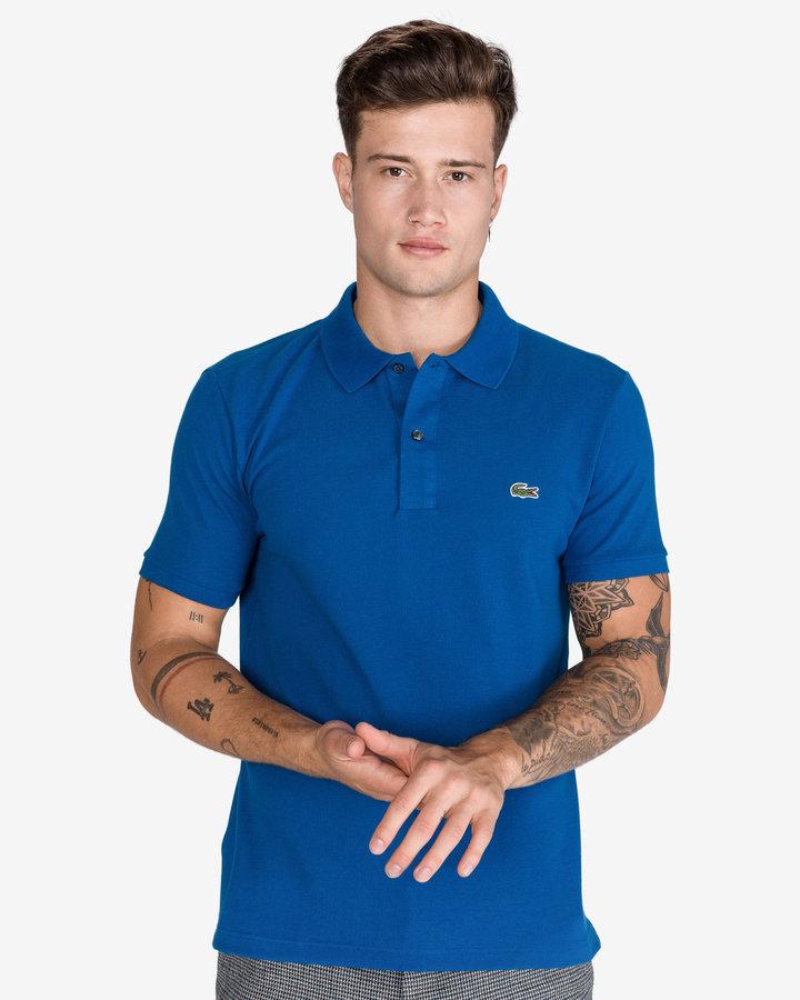 Modrá pánská polokošile s krátkým rukávem Lacoste