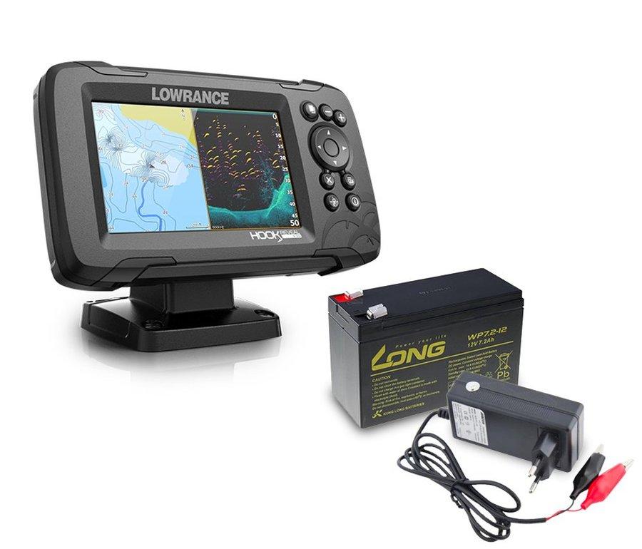 Echolot - Lowrance Echolot Hook Reveal 5 se Sondou HDI 83/200khz + baterie + nabíječka ZDARMA