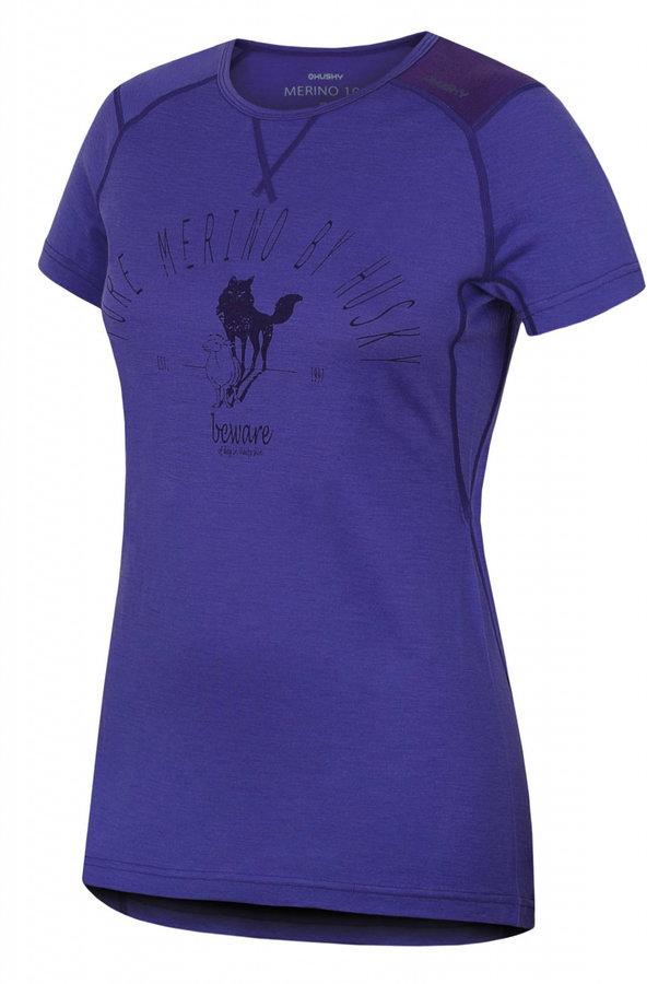 Fialové dámské termo tričko s krátkým rukávem Husky - velikost L