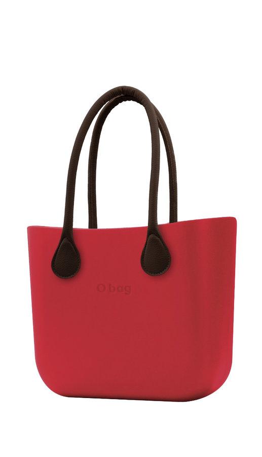 Kabelka - O bag kabelka Ciliegia s hnědými dlouhými koženkovými držadly