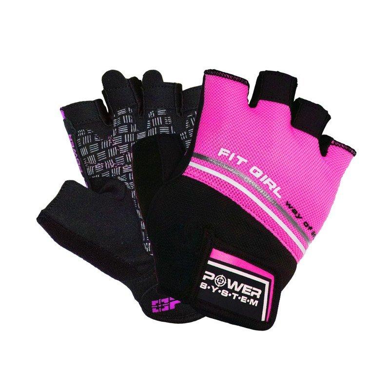 Růžové dámské fitness rukavice Power System