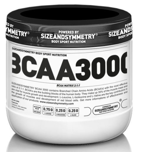 BCAA - Sizeandsymmetry Nutrition BCAA 3000 200 tablet