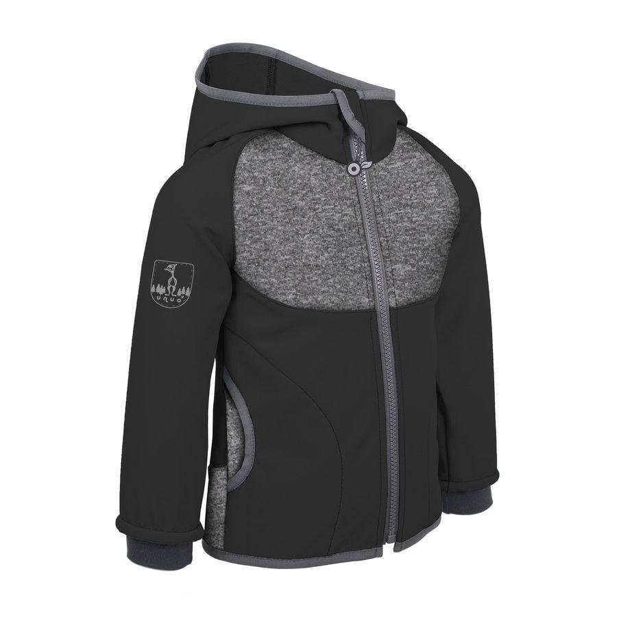 Černo-šedá softshellová dětská bunda Unuo - velikost 110