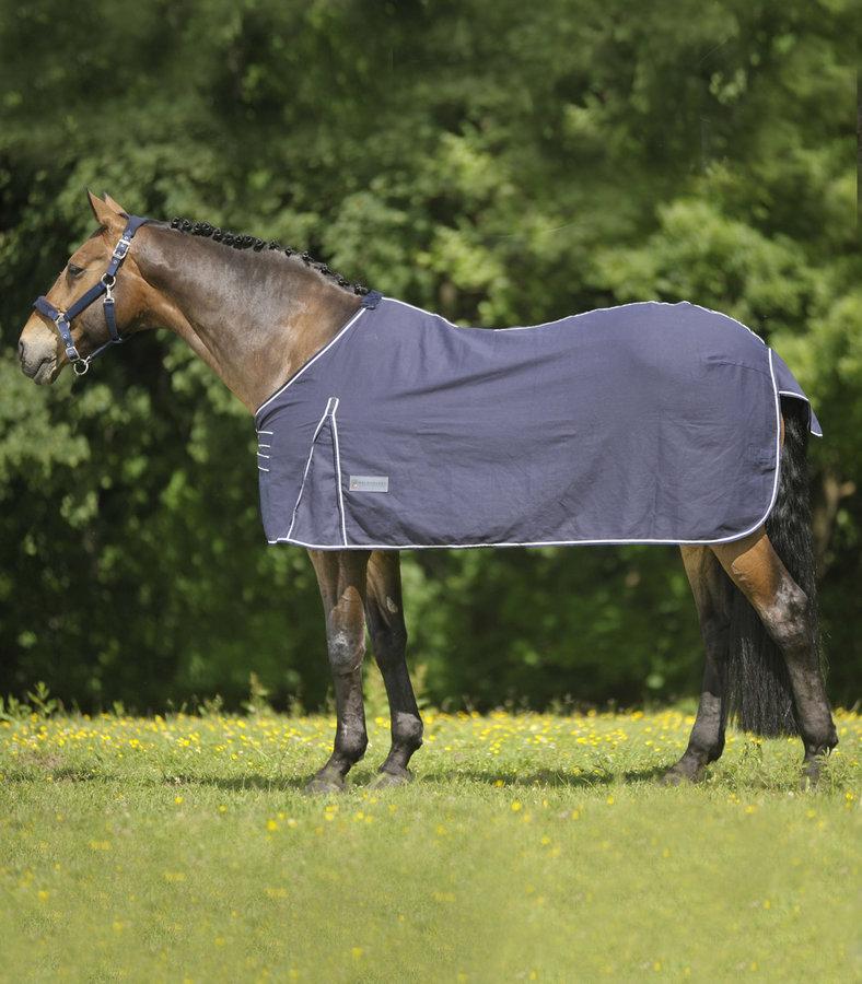 Deka na koně - STÁJOVÁ LETNÍ DEKA BAVLNĚNÁ MODRO/BÍLÁ WALDHAUSEN Velikost: 155cm