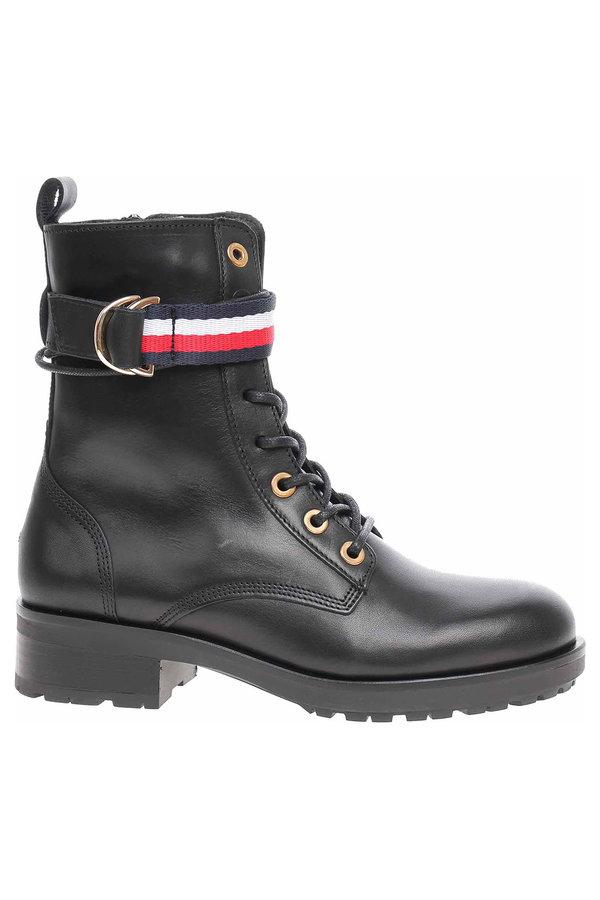 Černé dámské kotníkové boty Tommy Hilfiger