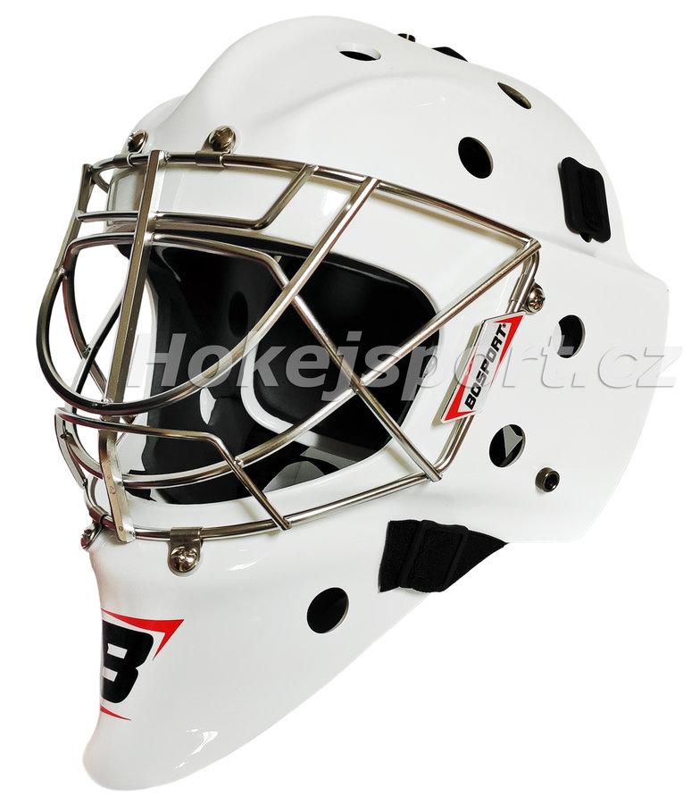 Bílá brankářská maska - senior Classic, Bosport - velikost 56-60 cm